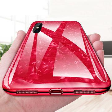Bakeey Shell Pattern Glossy Glass Soft Edge Beskyttelsesveske til iPhone X