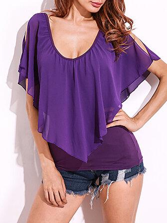 सेक्सी महिला कम कट वी-गर्दन रफल्स Batwing लघु आस्तीन शिफॉन टी शर्ट