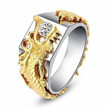 Anillo de oro para hombres de lujo Dragón Anillos de diamante chapados en oro de 18 k para hombres