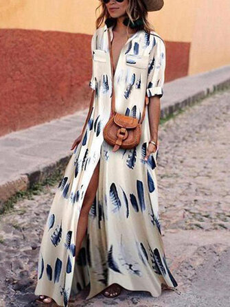 Women Party Evening V Neck Short Sleeve Floral Printed Long Maxi Dress