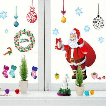 La pared del árbol de navidad etiqueta de la pared de regalo la decoración del hogar del arte ventana de Santa Claus