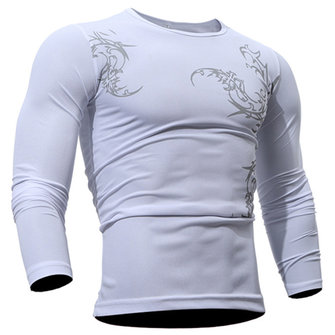 Personality Chinese Style Printed Casual T-shirt Fashion Sports O-neck Long Sleeves Slim Fit Tops
