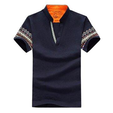 राष्ट्रीय शैली आरामदायक मुद्रित गोल्फ शर्ट पुरुषों लूज लघु आस्तीन शीर्ष Tees प्लस आकार