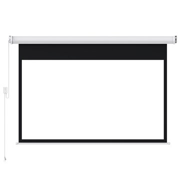 16: 9 White Plastic Covered Fengmi Electric Motorized Projector Screen 100 Inch Support Projector with Top to Bottom Remote Control for Home Office Classroom