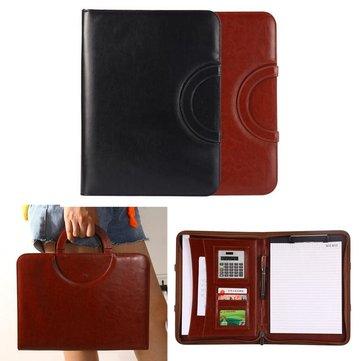 Portable A4 Zipper Ring Binder Conference File Folder Document Bag Business Travel Briefcase