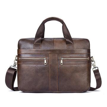 Genuine Leather Business Briefcase Large Capacity Handbag Shoulder Bag For Men