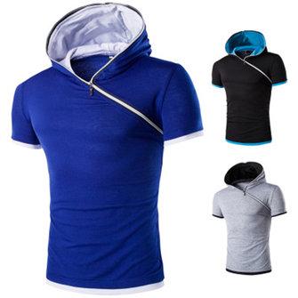 Plus आकार पुरुष हूडि टी शर्ट्स गर्मियों में कम बाजू की शर्ट आकस्मिक स्लिम फिट टॉप