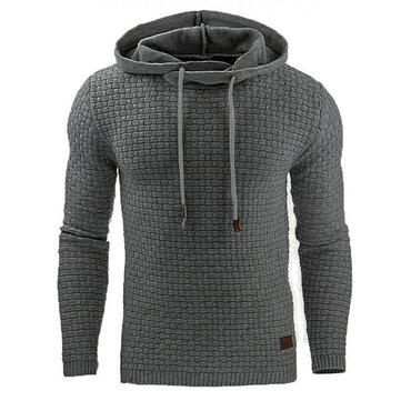 Men Warm Jacquard Hooded Sweatshirts Casual Solid Color Long Sleeve Sport Hoodies