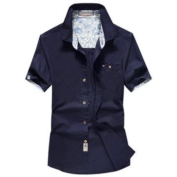 Mens Summer Bomullslinne Andas Wicking Kortärmad Pocket Skjortor