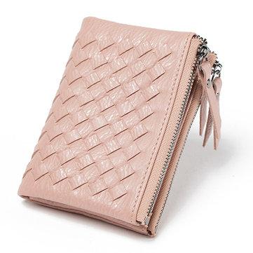 Women Weaven Short Wallets Girls Hasp Super Slim Purse Card Holder Coin Bags