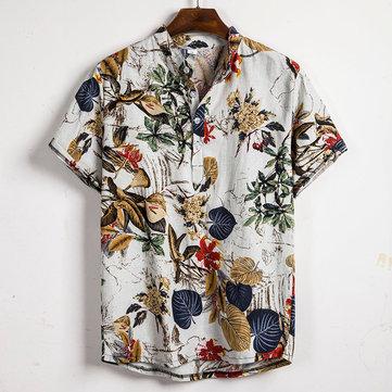 Homens Plantas Tropicais Imprimir Manga Curta Henley Oriental Camisa