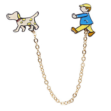 Cute Unique Designed Metal Boy Walking Dog Brooch Exquisite Children's Day Gift