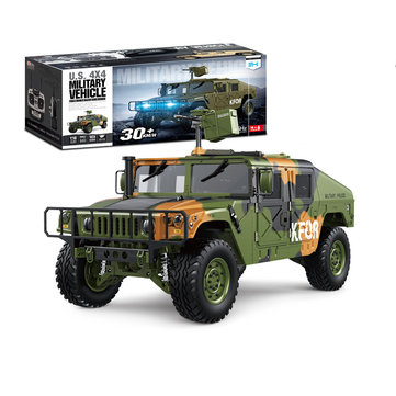 HG P408 Upgraded Light Sound 1/10 2.4G 4WD 16CH 30km/h RC Car U.S.4X4 Military Vehicle Truck without Battery Charger
