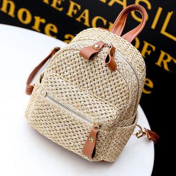 Women Straw Fashion Woven Backpack Travel bag Shoulder Bag Handbag