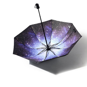 3D Starry Night Anti-UV Rainy Sunny Umbrella Ultralight Travel Windproof Umbrella Women Gift