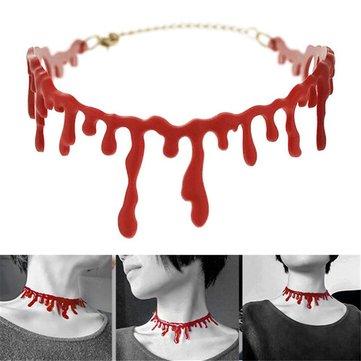 Halloween kinh dị nhỏ giọt máu vòng cổ giả máu ma cà rồng Fancy Joker vòng cổ trang phục đỏ