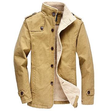 Sim Fit Lông cừu Mùa đông ấm áp Đơn áo ngực dài cho nam