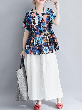 Floral Women Printed Loose Irregular Hem Cotton Linen Tops