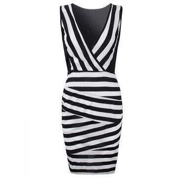 सेक्सी महिला आस्तीन वी गर्दन पट्टी पैचवर्क बॉडीकॉन ड्रेस