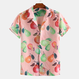 US$14.99 75% Colourful Pears Print Short Sleeve Revere Shirts Men's Clothing from Clothing and Apparel on banggood.com