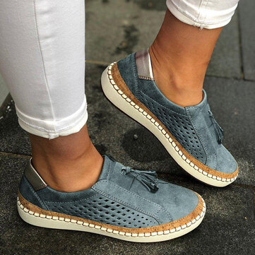 Large Size Women Casual Hollow Out Fringe Loafers