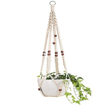 Macrame Flower Pot Planter Holder Basket Hanging Rope with Beads for Home Indoor Outdoor Decorations Cotton Rope Macrame Plant Hanger Indoor Outdoor Hanging Planter Basket Cotton Rope
