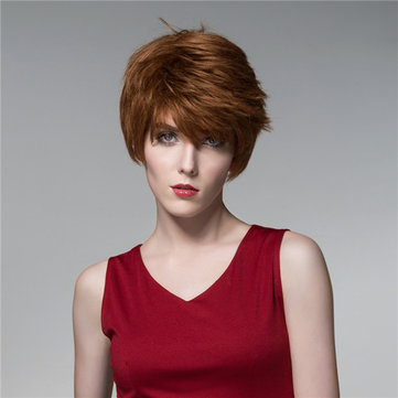 Lurus Pendek Rambut Manusia Wig Keren Sisi Bang Virgin Remy Mono Top Tanpa Capless Unik 14 Warna