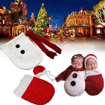 Newborn Baby Crochet Knit Costume Photography Photo Prop Snowman Hat Cap Set Christmas Gift