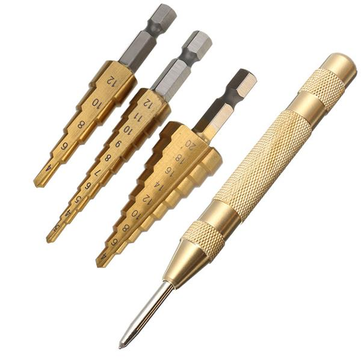 Drillpro 3 Cái 3-12 / 4-12 / 4-20mm HSS Titanium Coated Step Drill Bits with Automatic Center Punch Punch