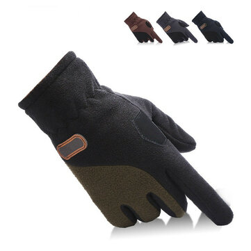 Unisex Thermal Fleece Driving Golves Outdooors Sports Cycling Screen Touch Adjustable Mittens