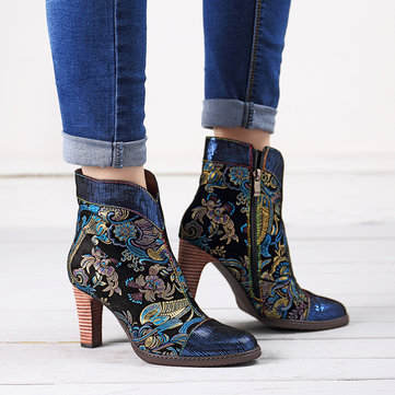 SOCOFY Bohemian Stitching Embossed Leather Ankle Boots