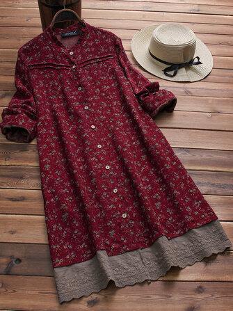 Vintage dài tay in hoa chắp vá thêu Hem Dress