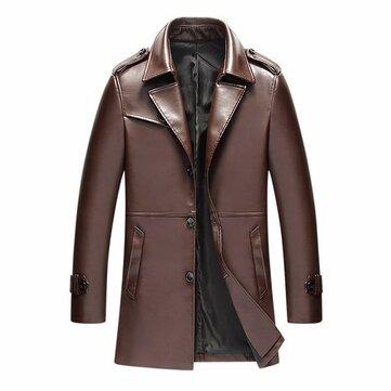 पुरुषों स्टाइलिश Gentlemanlike सिंगल ब्रेस्टेड पु चमड़ा लंबे फैशन जैकेट ट्रेंच कोट