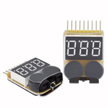 Lipo Battery Low Voltage Meter Tester 1S-8S Buzzer Alarm