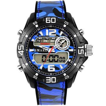 SMAEL 1077 Dual Display Digital Watch Men Luminous Alarm Sport Watch Camouflage Military Style Watch