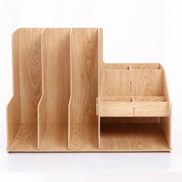Detachable DIY Wooden Desktop Multi Trays Organizer Shelf Storage Box Papers Documents Files Holder