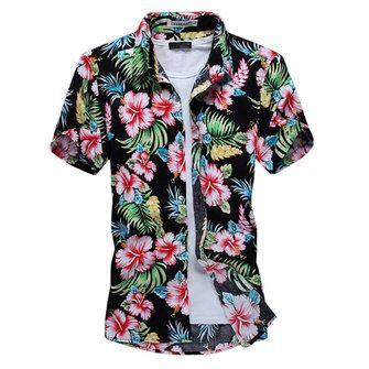 ग्रीष्मकालीन पुरुषों फैशन फूल शर्ट आरामदायक स्लिम फिट लघु आस्तीन शर्ट्स