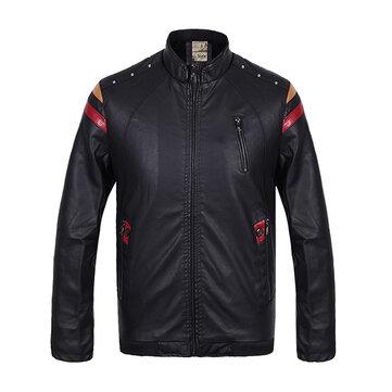 पुरुषों पीयू चमड़ा मोटर साइकिल फ्लीस विंडप्रूफ जैकेट प्रिंटिंग छाती जिपर स्टैंड कॉलर कोट