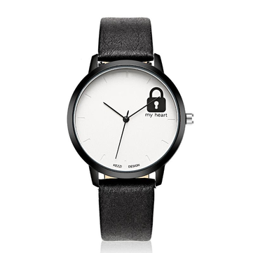 Fashion Cute Lock Pattern Leather Strap Children Quartz Watch Student Watch