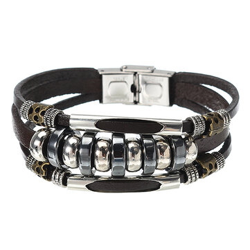 Multilayers Leather Stainless Steel Men Bracelet Jewelry Clothing Accessories