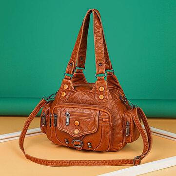 Προσφορά / Κουπόνι για το προϊόν: Women PU Leather Large Capacity Multi pocket Rivet Decoration Retro Soft Tote Handbags Crossbody Bags με τιμή 22.83€