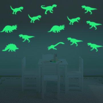 Honana DX-132 9PCS 15x6cm Fluorescent Glow Dinosaur Wall Sticker