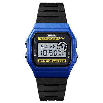 SKMEI 1413 LED Reloj digital Impermeable Cronógrafo Reloj cuadrado de reloj cuadrado