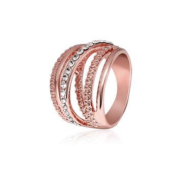 Ahuecar hacia fuera la línea entrelazada elegante anillo de compromiso rosa de oro chapado Mujer Joyería