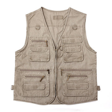 Middle-aged Mens Cheap Casual Pocket Outdoor Canvas Fishing Vest