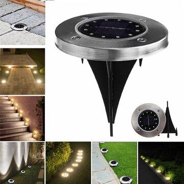 Solar Powered 12 LED Buried Light Under Ground Lamp Outdoor Path Garden Decor