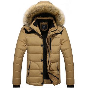 पुरुषों मोटी शीतकालीन हुडेड डिटेक्टेबल आरामदायक स्प्लिस बिग साइज जैकेट स्टैंड कॉलर कोट