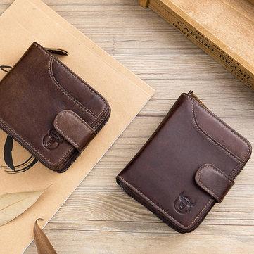 Bullcaptain Men Cowhide Wallet 19 Card Slots Card Holder Vintage Fashion Hasp Zipper Coin Bag