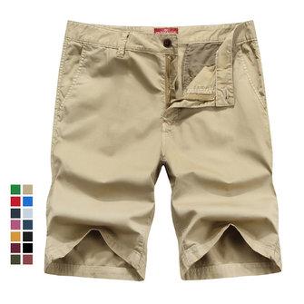 ग्रीष्मकालीन पुरुषों कपास कार्गो शॉर्ट्स आरामदायक ठोस रंग घुटने की लंबाई शॉर्ट्स