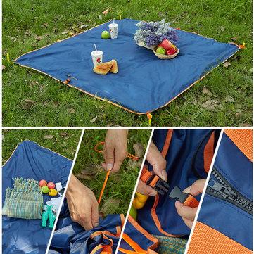 145 x 145 cm doble capa Impermeable alfombra plegable Playa Bolsa manta cámping almohadilla multifunción a prueba de humedad tapete picnic jardín al aire libre